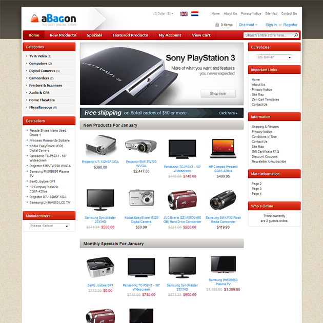 Abagon Free Zen Cart Theme Theme For Zen Cart