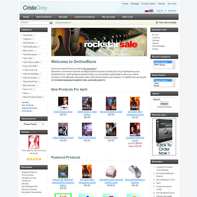 Crista gray free zencart template gray free theme for Free responsive zen cart templates
