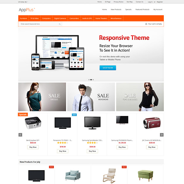Appplus responsive zen cart template software mobile theme for Free responsive zen cart templates