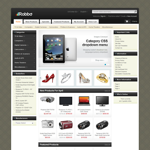 Robbo zencart template home electronics pc hardware for Free responsive zen cart templates