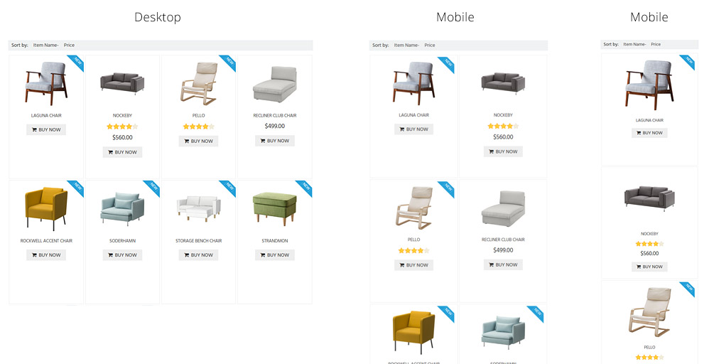 Responsive Product Listing Design