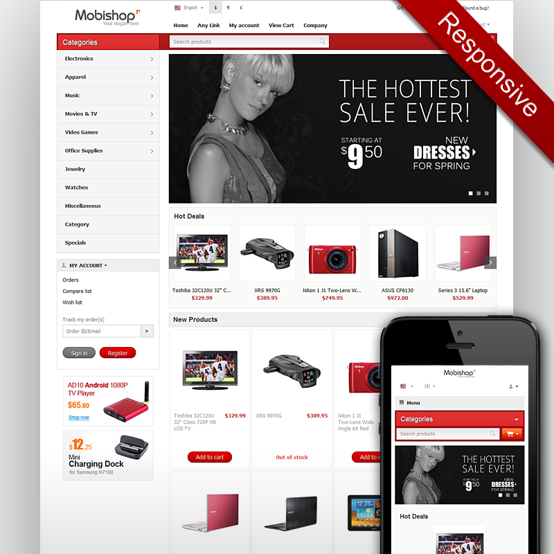 Responsive CSCart Template Mobile CSCart Theme - Responsive shopping cart template