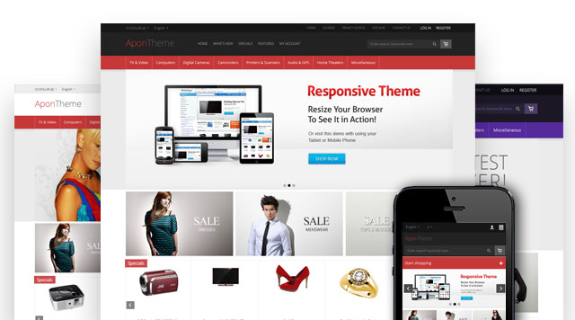 Apon Responsive Zen Cart Template Software Mobile Theme