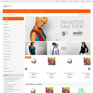 Two column store including home page and alternative top navigation. Banner sizes change automatically.