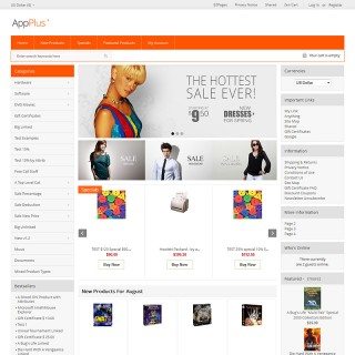 Three column store including home page and alternative top navigation. Banner sizes change automatically.