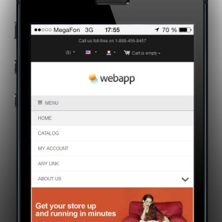 Mobile view. Collapsible menu and sideboxes.